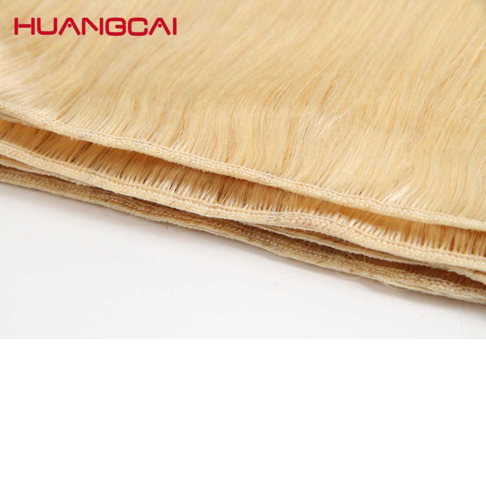 Cor #613 Do Cabelo Humano Pacotes Com Fecho de Rendas Remy Brasileiro Cabelo Weave Bundles 10 Mel Loira Pacotes Com Fecho -30 polegada