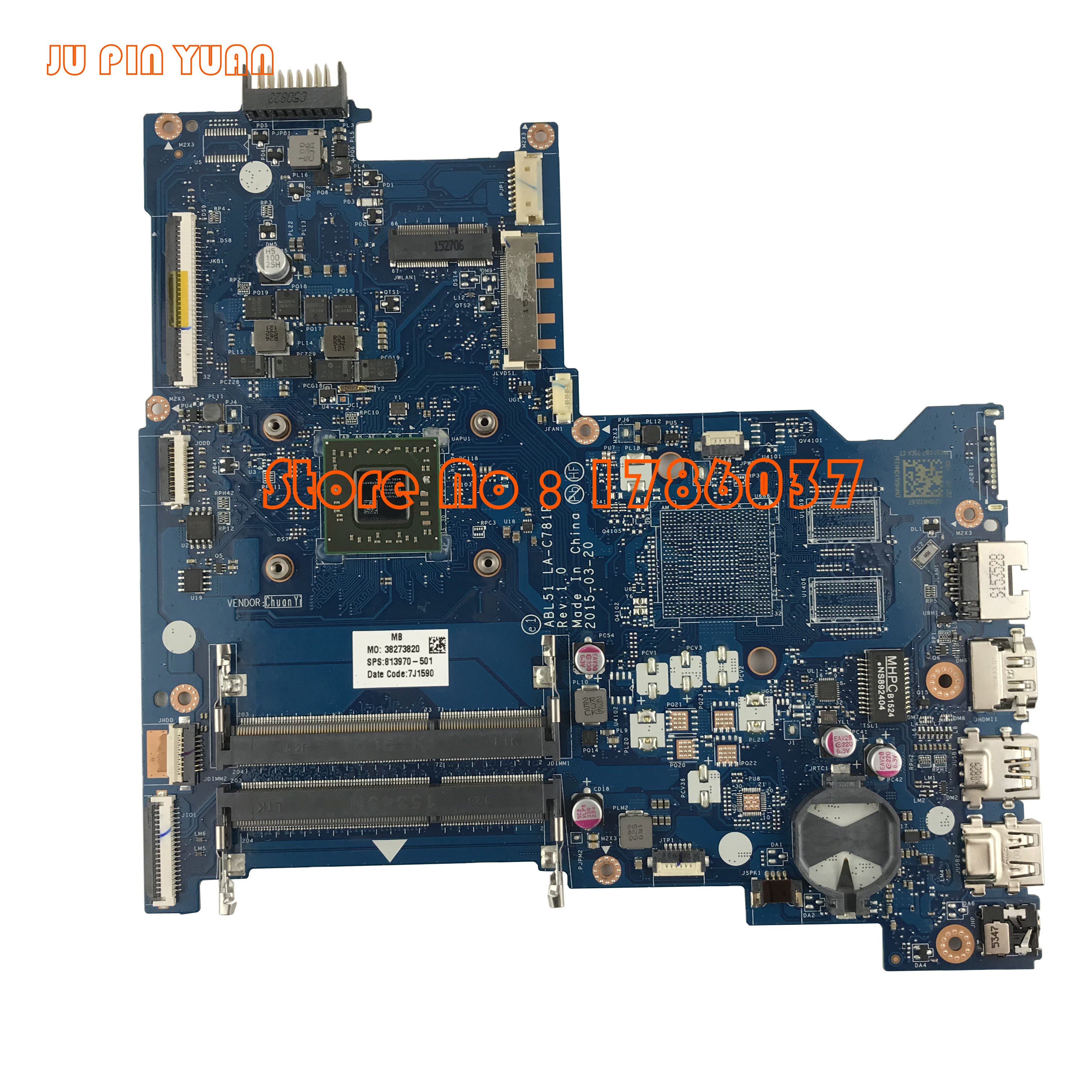 JU PIN YUAN 813970-001 813970-501 ABL51 LA-C781P Für HP Notebook 15Z-AF Serie Motherboard A8-7410 Alle Funktionen Vollständig Getestet
