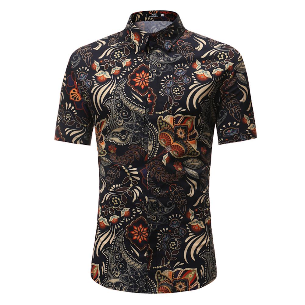 MISSKY 2019 New Men Summer Casual Retro Floral Printing Short Sleeve Shirt Leisure Slim Fit Shirt