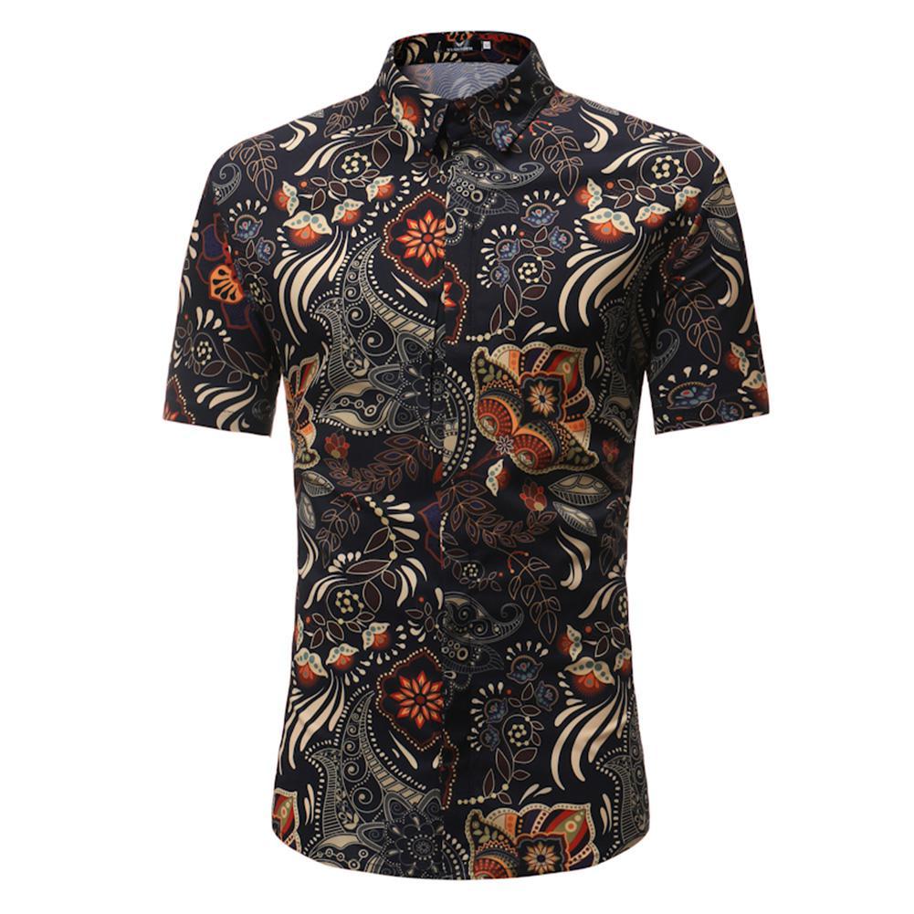 MISSKY 2019 New Men Summer Casual Retro Floral Printing Short Sleeve Shirt Leisure Slim Fit Shirt