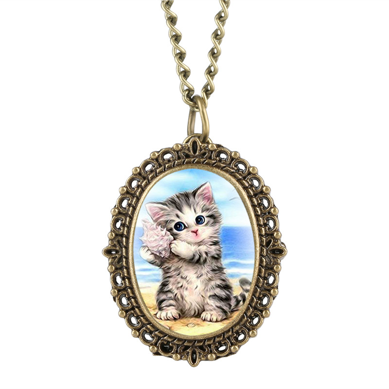 Conch Kitten Patch Pocket Watch For Girl Ocean Pattern Quartz Pocket Watches Elliptical Gift For Pocket Watch With Necklace