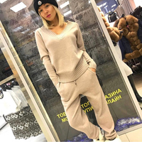 Women TWO PIECE SET Knitted Sweater Suit V Neck Joggers Trousers Lounge Wear Female Tracksuit Pullover Blouse Jumper Top Spring