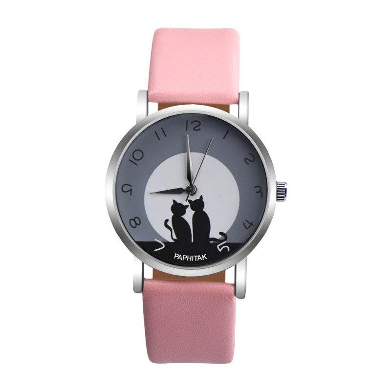 Women's watches casual watches Leather Cute Cat Pattern Leather Watch women Ladies quartz wristwatches montre femme #D 2