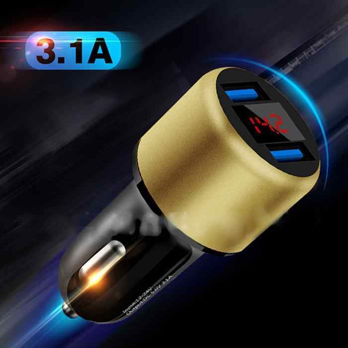 3.1A USB Car Charger Universal Intelligent Charging Auto Charger with LED Display for Smartphone Tablet Power Bank