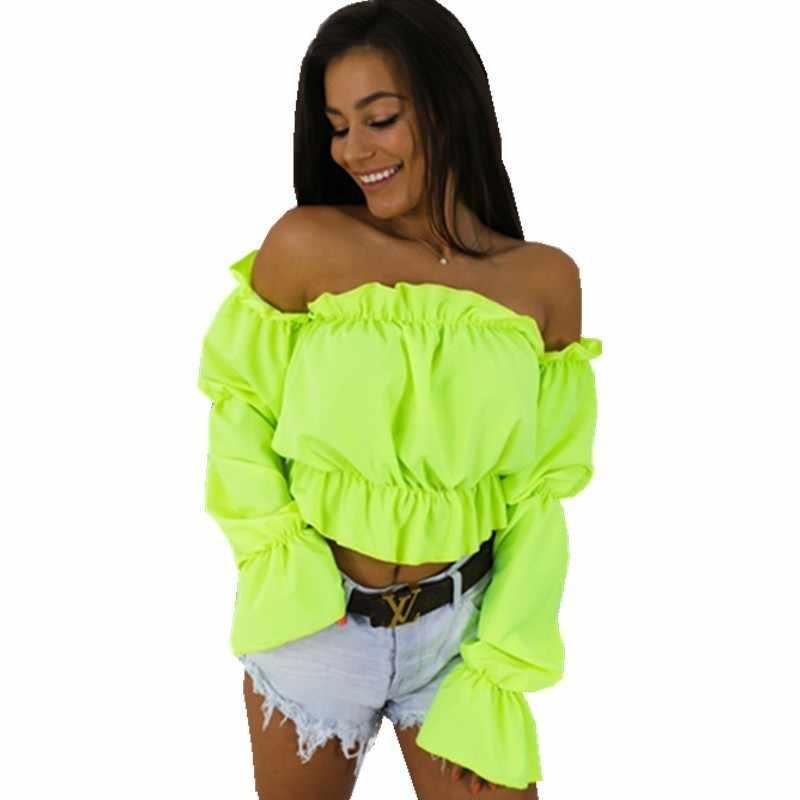 Топы с открытыми плечами, блузки женские с длинным рукавом, с оборками, с вырезом лодочкой, шифоновая рубашка неоновые, зеленые, черные, белые, 2019, лето, осень, Blusas 55