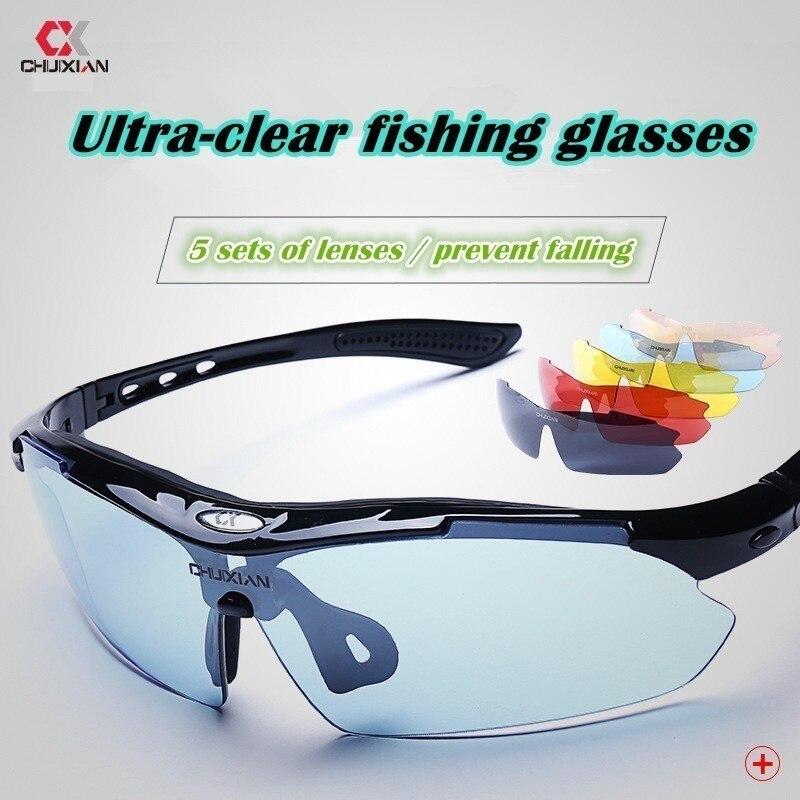 e0f1126635 Polarized Fishing Glasses Outdoor Brightening Lens Night Vision Blu-ray  Pesca Peche Deportes Clip On