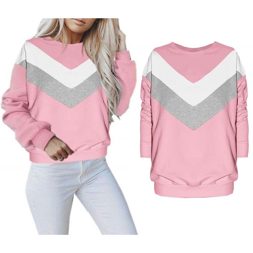 Missky Women Sweatshirt Long Sleeve Round Collar Baggy -8358