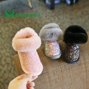 Image 2 - Claladoudou 12 18CM enfants filles Bling Bling bottes de neige 1 2 3 6 ans bébé fille bottines gris bébé chaussures bambin chaussons 11