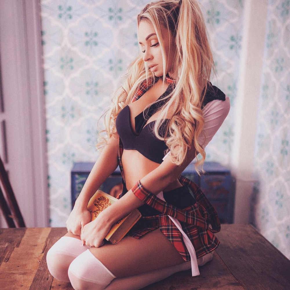 섹시한 여성 란제리 격자 무늬 선원 복장 학교 소녀 유니폼 섹시한 나이트 클럽 드레스 섹시한 속옷 의상 의류 세트 플러스 사이즈