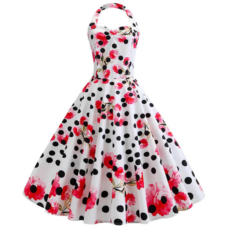 2019 Red Halter vestido de Festa Vestido Mulheres Verão Balanço Grande 50 60 s s Robe Rockabilly Do Vintage Pin Up Vestidos com cinto Plus Size Robe Femme
