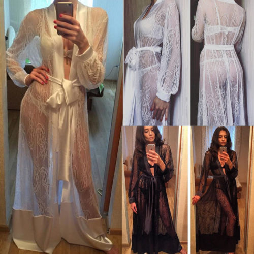 Women Sexy Long Silk Kimono Dressing Gown Bath Robe Babydoll Lace Lingerie Transparent Nightdress