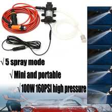6Pcs/Set 12V 100W High Pressure Self-Priming Electric Car Portable Wash Washer Washing Water Pump