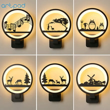 Artpad Simple Modern Bedroom Bedside Wall Lamp Cute Cartoon 3D Acrylic LED Night Lights for Kids Baby Child Rooms Living Room