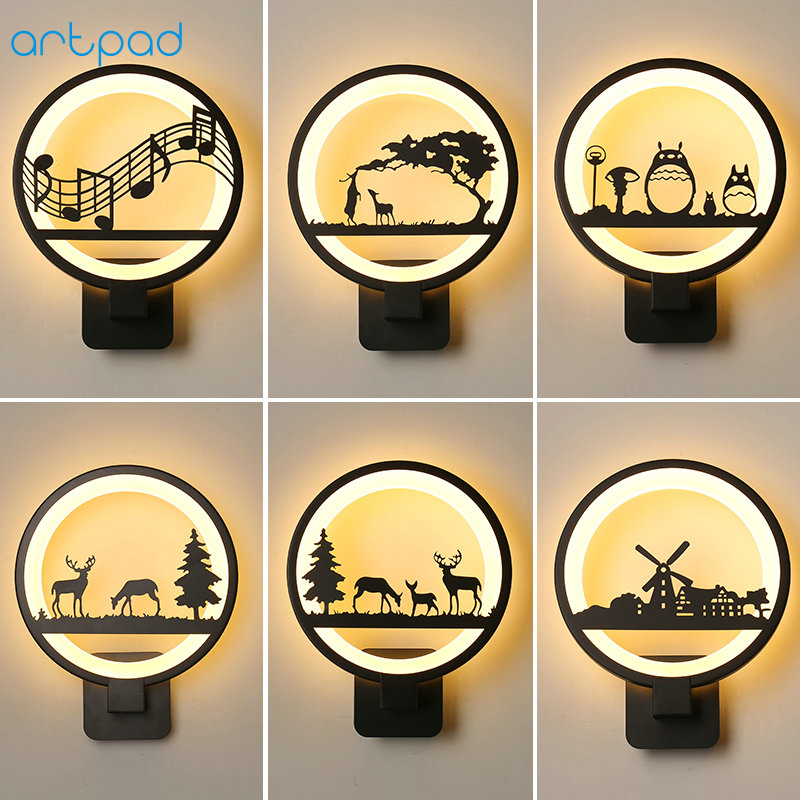 Artpad Simple Modern Bedroom Bedside Wall Lamp Cute Cartoon 3D Acrylic LED Night Lights for Kids Baby Child Rooms Living Room image