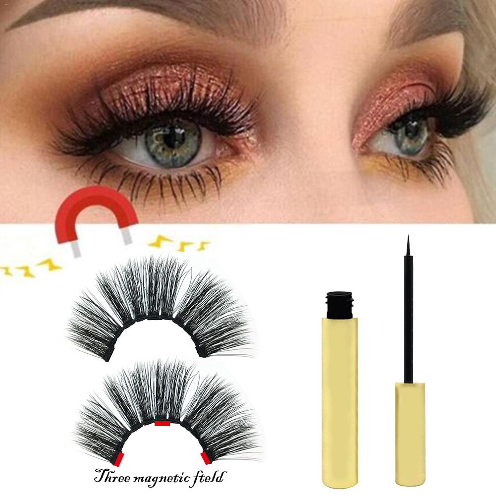 1 Pair Magnetic Liquid Eyeliner With A Three-magnetic False Eyelashes Waterproof For 3d Mink Eyelash
