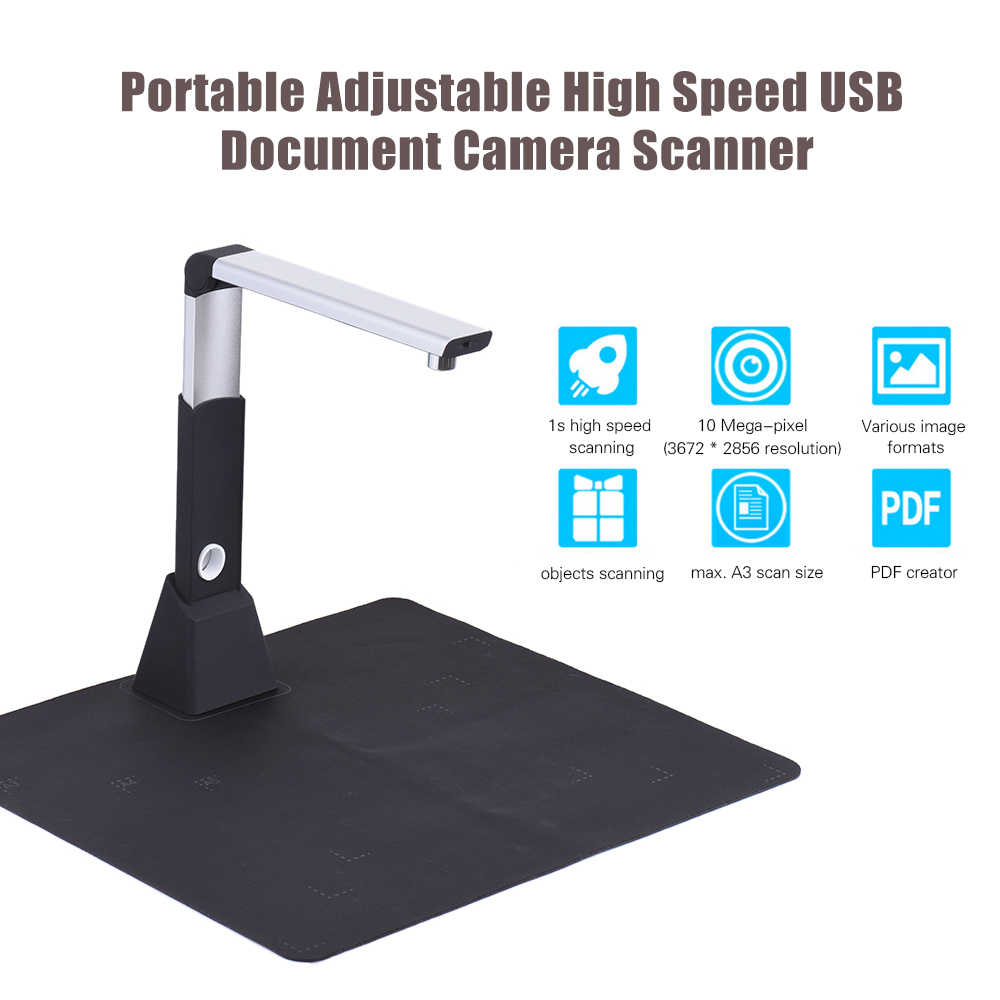 Regolabile Usb Libro Immagine Document Camera Scanner 10 Mega-Pixel Hd Max. a3 Funzione Ha Condotto La Luce di Scansione di Formato con Ocr