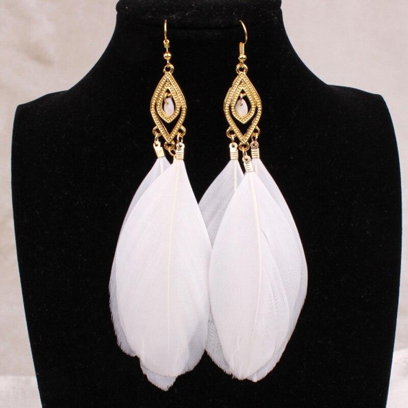 Fashion Long Real Feather Tassel Dangle Earrings For Women Leaf  Dreamcatcher Drop Earring Jewelry  Brincos Bijoux