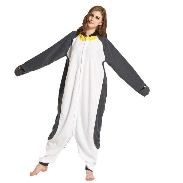 e869f583f010 Dropshipping Cartoon Animal Gray Penguin Onesie Pajamas Christmas Women  Pajama New Fall Winter Couple Pajamas