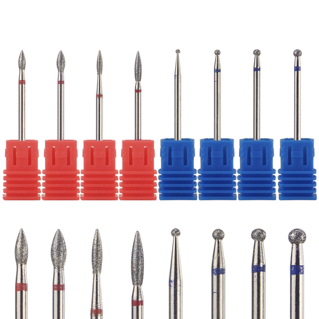 8 Types Diamond Nail Drill Bit Rotary Burr Cuticle Clean Electric Bits For Manicure Drill Accessories Nail Mill Cutter MF01-08