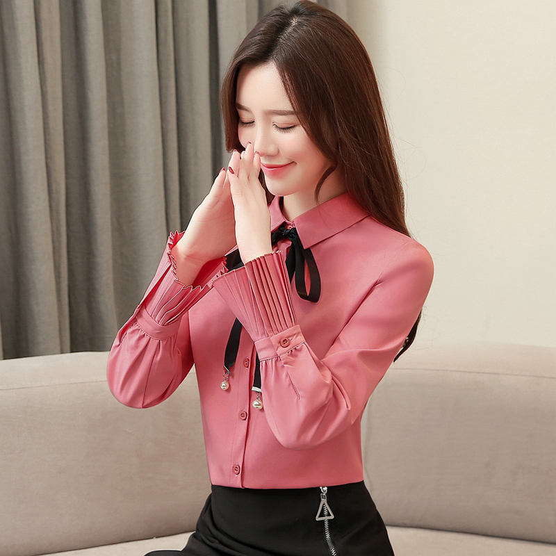 New Spring Fashion Women   Shirts   Bow Flare lt Full Sleeve Slim Tide Han Fan   Blouse     Shirt   White Brick Red Apricot 9354