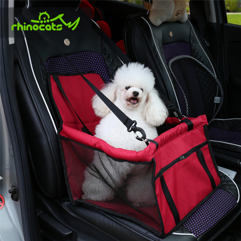 SODIAL Pet Reinforce Car Booster Seat for Dog Cat Portable and Breathable Bag with Seat Belt Dog Carrier Safety Stable for Travel Look Out,with Clip on Leash and Storage Package
