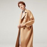YOYOCATHY 100% Wool Women's Coats Winter Double Side Woolen Camel Overcoats Double breasted Loose Water Ripple Female Outerwear