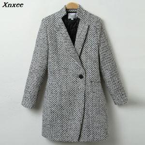 Image 4 - Xnxee Herfst Winter Pak Blazer Vrouwen Formele Wollen Jassen Werk Office Lady Lange Mouwen Blazer Bovenkleding Plus Size 7XL