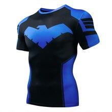 2019 hot new night 3D printed t shirt men's compression fitness t shirt superhero top clothing short-sleeved fitness t shirt