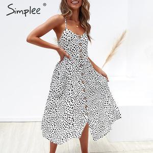 Image 4 - Simplee Elegant ปุ่มผู้หญิงชุดกระเป๋า Polka Dots สีเหลือง MIDI ฤดูร้อนชุดลำลองหญิง PLUS ขนาด Lady Beach vestidos