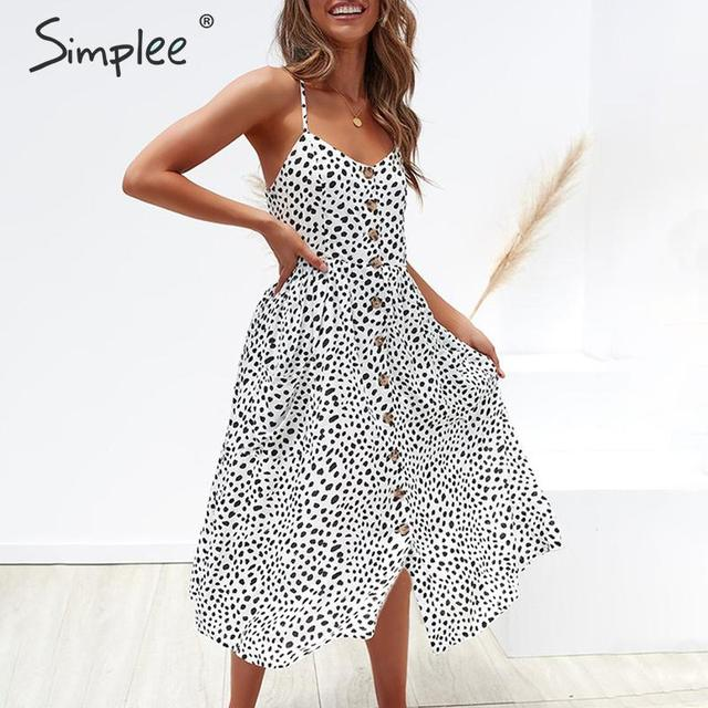 Simplee Elegant button women dress Pocket polka dots yellow cotton midi dress Summer casual female plus size lady beach vestidos 2