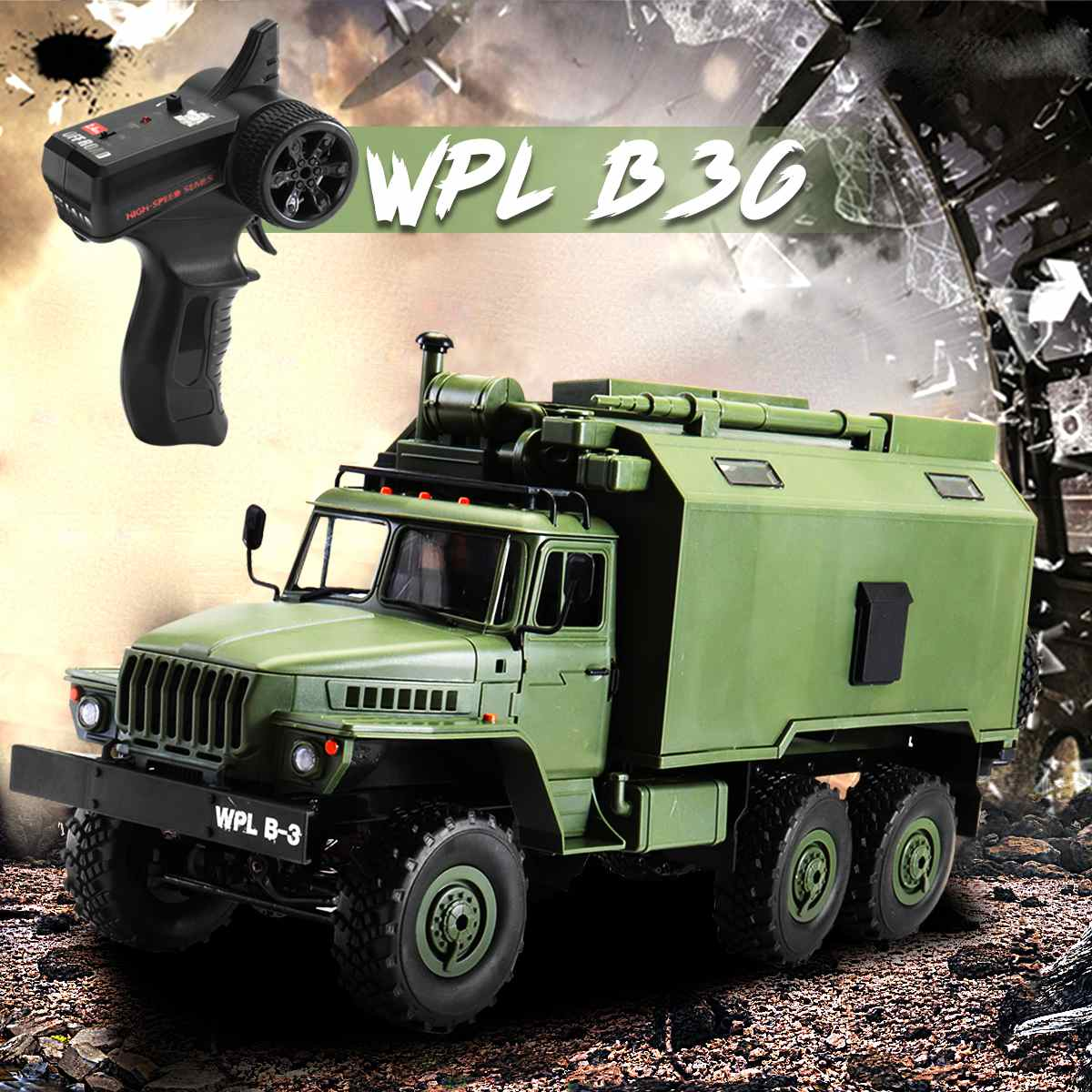 RC Crawler Military Truck WPL B36 1/16 2.4G 6WD Off Road