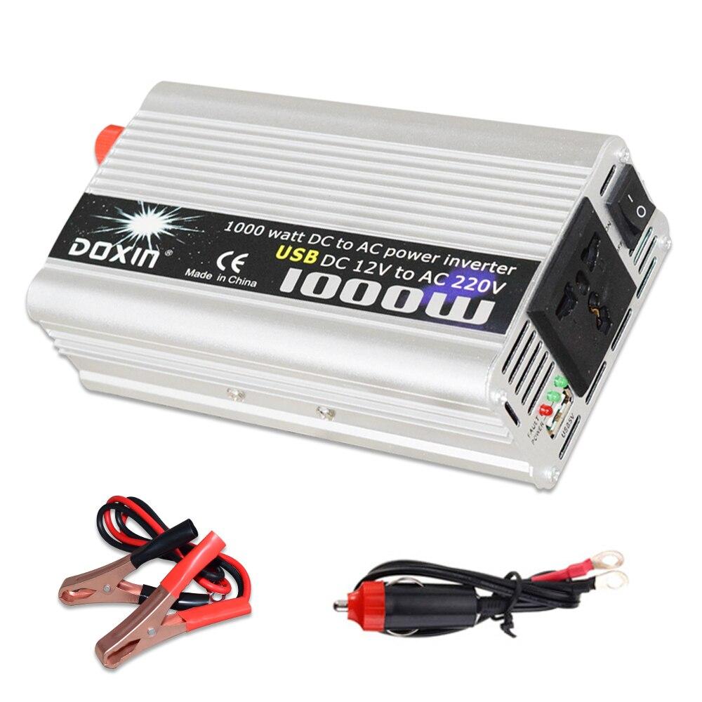 Инвертор USB 1000 Вт DC 12 В к AC 220 В портативное автомобильное зарядное устройство конвертер адаптер DC 12 В AC 220 модифицированная Синусоидальная во
