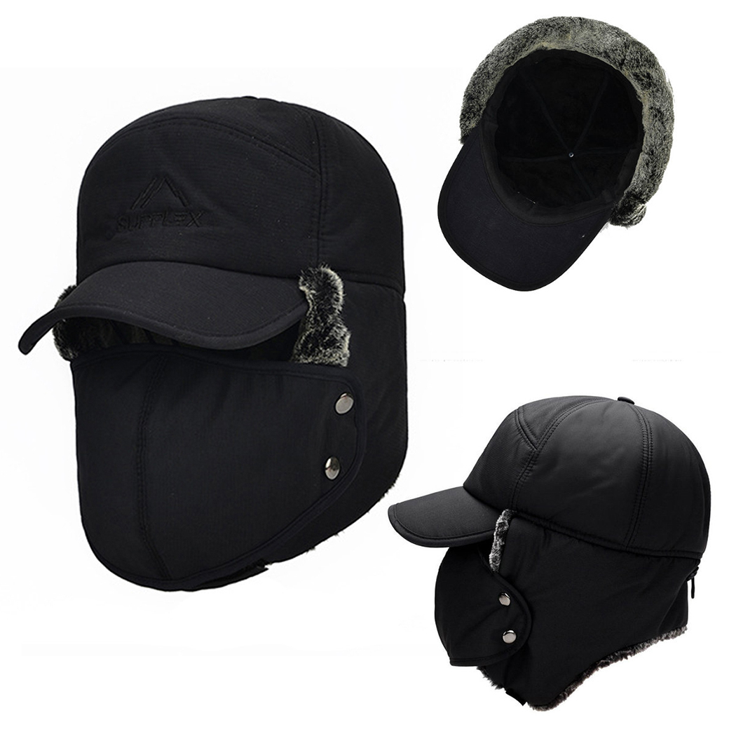 Cap Bomber-Hats Winter Men's Woman Thicker Plus Ear Face-Protection Velvet The-Snow-Male