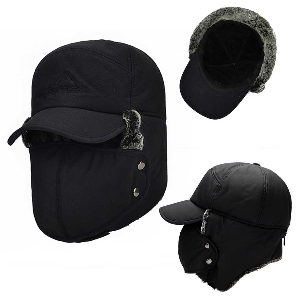 Winter Men s Ear Face Protection Bomber Hats Attached Mask Thicker Velvet  Keep Warm Woman Hat The c14eaba69297