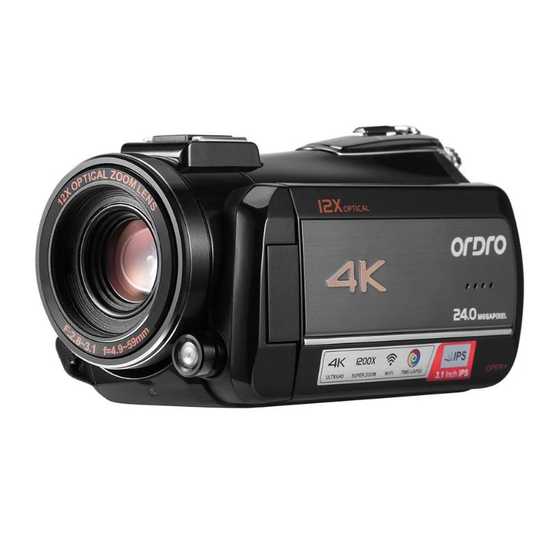 Ordro AC5 4K UHD12X Digital Video Camera FHD 24MP WiFi IPS Touch Screen 12 Times Optical Zoom Camcorders