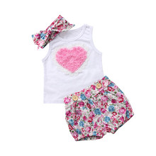 Newborn Baby Kids Girl Cotton T-shirt Dress Pants Outfit Baby Clothing Baby Girls Sleeveless T-shirt Shorts Clothes Set baby child girls kids clothing bow knot flower sleeveless vest t shirt tops ves shorts pants outfit girl clothes set 2pcs infant page 4 page 5