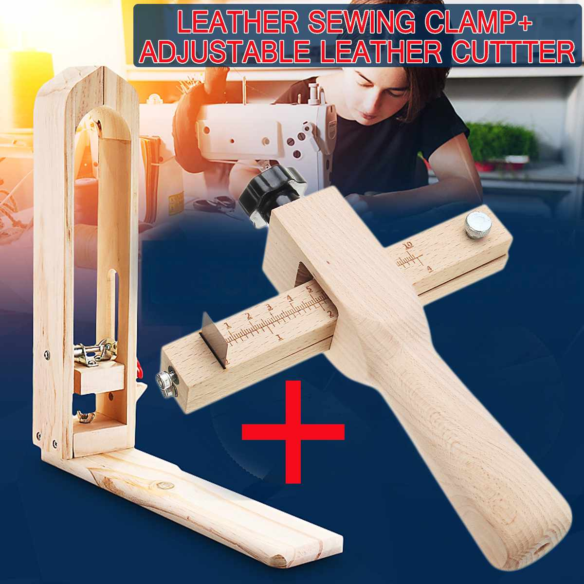 Wood Sewing Tools Leather Craft Retaining Clip Table Desktop Stitching Lacing Pony Horse Clamp + Adjustable Leather Strip Cutter