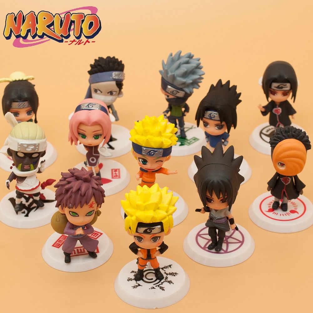 Enviar aleatoriamente q anime naruto figura de ação 12 estilos zabuza haku kakashi sasuke naruto sakura pvc modelo coleção crianças brinquedos