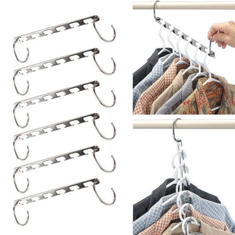 6pcs Space  Cloth Hanger Stainless Magic Clothes Hanger 6 Holes Rack For Clothes Pants Skirt Closet Organizer Racks