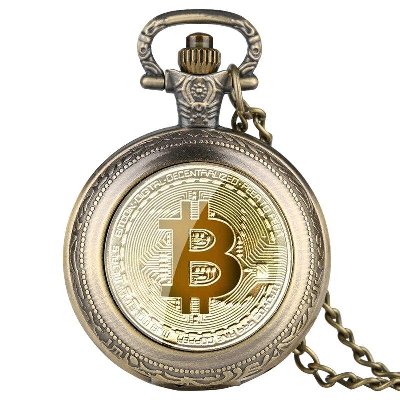 Gold Plated Physical Bitcoins Casascius Bitcoin BTC Quartz Pocket Watch Physical Metal Antique Imitation BIT Coin Art Collection