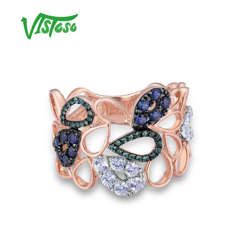 VISTOSO 10K Rose Gold Drop Hollow Ring For Lady Created Sapphire&Emerald&White Sapphire Glamorous Glittering Party Fine Jewelry-in Ringen van Sieraden & accessoires op  Groep 2