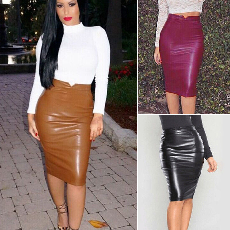3d92c7357b Women Bodycon Pencil Skirt High Waist Faux Leather Below Knee Length Midi  Bodycon Skirts
