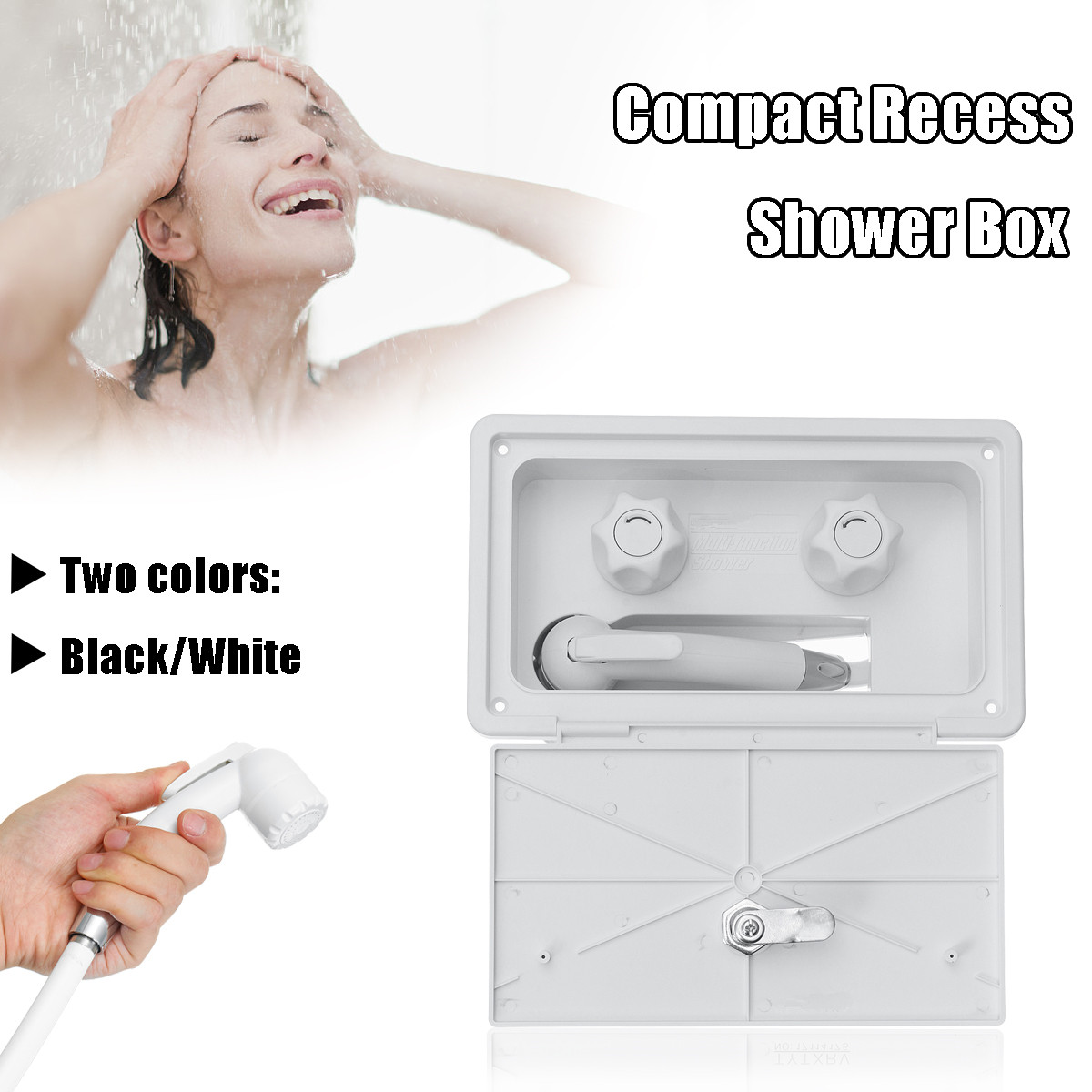 Xueqin Portable RV Exterior Shower Box Kit Shower Faucet Lock-Includes Hot And Cold Water Mixer Artic Latch For Caravan TrailerXueqin Portable RV Exterior Shower Box Kit Shower Faucet Lock-Includes Hot And Cold Water Mixer Artic Latch For Caravan Trailer