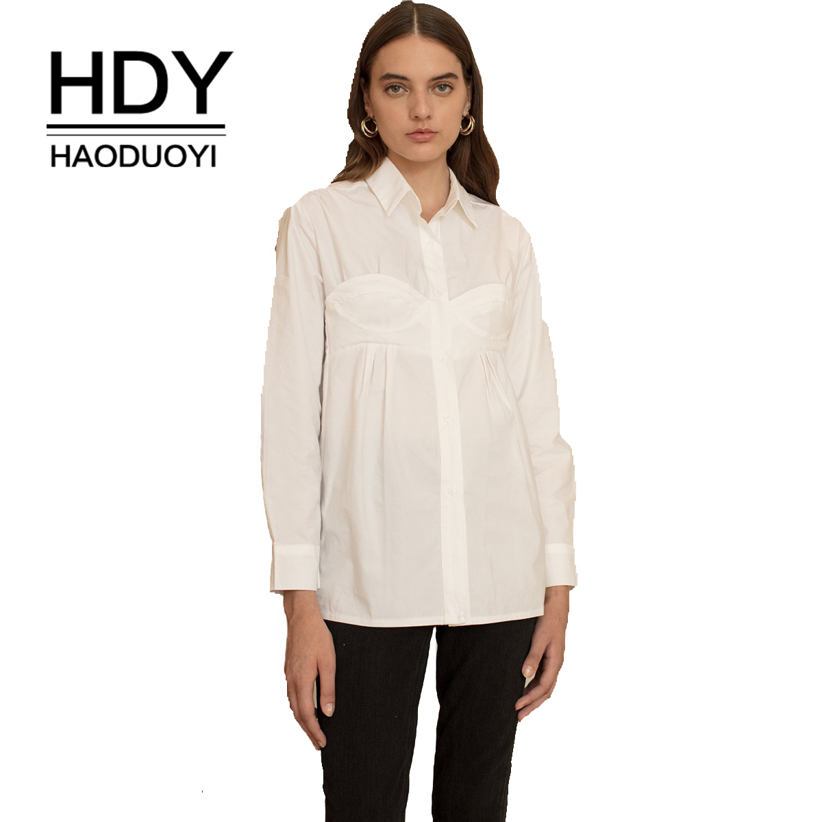 HDY Haoduoyi  Personality Underwear Styling Lapel Pleated Shirt Casual Street Solid Color Top Autumn New Style