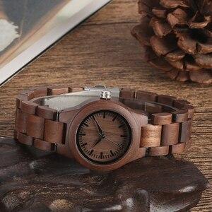 Image 5 - Einfache Reine Zifferblatt Retro Nussbaum Holz Uhr Frauen Uhr Stunden Ganze Einstellbare Holz Handgelenk Damen Uhren für frau Montre Femme