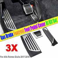3Pcs Car Interior Gas Brake Foot Pedal Pad Footrest Cover Aluminum Alloy PVC for Alfa Romeo Giulia 2017 2018