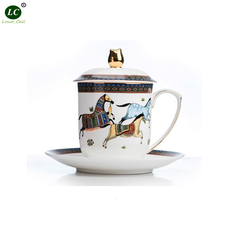 High-grade Mug Bone China Office Teacup Meeting Water Cup Tea Cup with Covered Bone China Mug