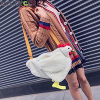 Модная женская сумка-мессенджер, мультяшная курица, повседневные сумки через плечо, милые детские плюшевые сумки для девочек, Bolsos Mujer sac a осн...