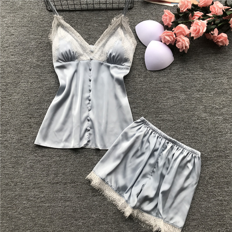 2019 Pajamas For Women Two Piece Set Female Sleepwear Silk Pyjamas Sexy With Chest Pad Nightwear Summer Lace Homewear Lingerie
