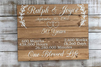 Personalized 50 Year Anniversary Gift Ideas Custom Wood Sign 50th Anniversary for Parents Wood Anniversary Wedding Welcome Sign